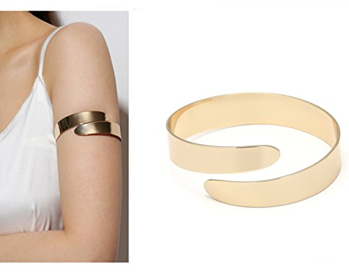 HOMEYU® Glossy Swirl Schlange Double Snake Oberarm Manschette Armlet Armband Armreif (leicht einstellbar)
