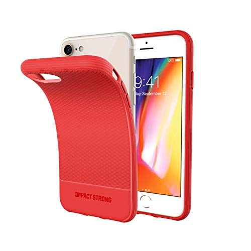 ImpactStrong iPhone SE 2020 Case, iPhone 7/8 Case, Liquid Shield Silicone Rubber Shock-Absorbing Scratch-Resistant Cover for iPhone 7/8 and iPhone SE (2nd Generation) - Red