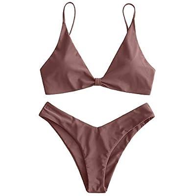 ZAFUL Women's Tie Knot Front Spaghetti Strap High Cut Bikini Set Swimsuit (Coffee, M)