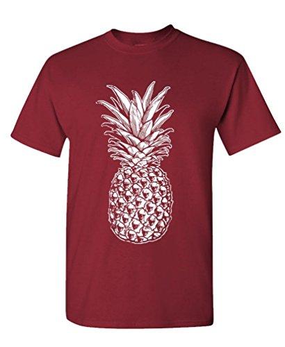 The Goozler Skull Pineapple - Retro Style Hipster - Mens Cotton T-Shirt, 2XL, Maroon