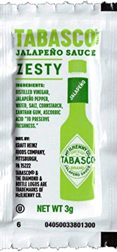 Tabasco Jalapeno Hot Sauce 3 Gram Packets (Pack of 50) with 2 By The Cup Sauce 2 Go Keychains