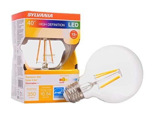 Sylvania 40180, equivalente a 40 W, bombilla de filamento LED, lámpara G25, base mediana, acabado transparente, eficiente 4,5 W, blanco suave 2700 K, 1 paquete
