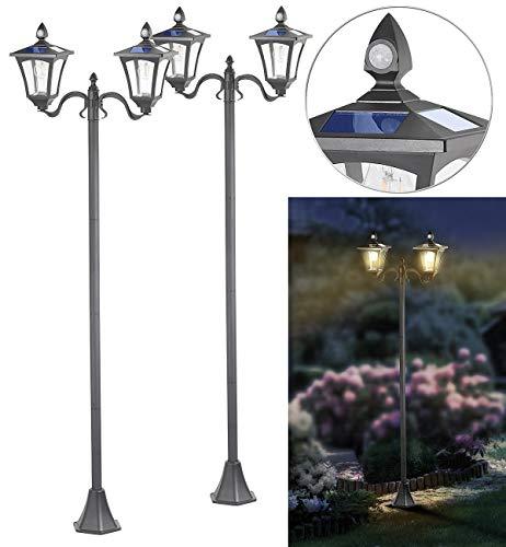 Royal Gardineer Laterne: 2er-Set Solar-LED-Gartenlaternen, 2 flammig, PIR-Sensor, 600 Lumen (LED Solar-Laternen Garten)