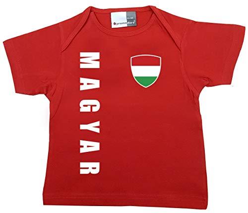 aprom T-shirt pour bébé - Coupe du monde de la Hongrie - N° 1 R HUN - Rouge - 80/86 cm