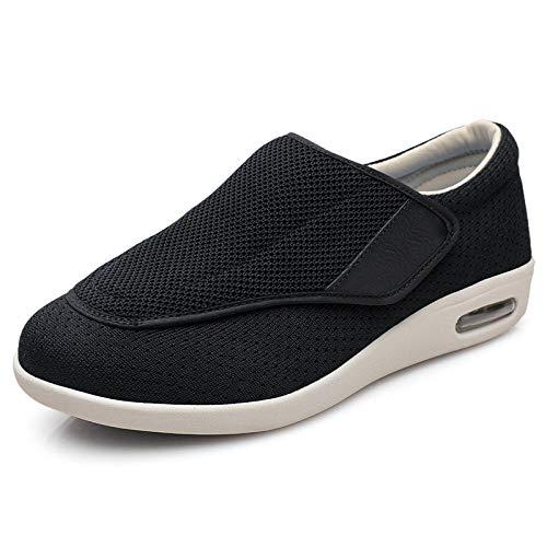 B/H Hombre Ajustable De Velcro Zapatillas OrtopéDica,Fractura de Dedo Gordo Hallux valgus Invierno Zapatos de mujer-42_Negro,Velcro CóModa Artritis Edema Zapatos Hinchados
