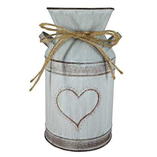 Jarrón de hierro vintage para flores, macetero para la leche, estilo rústico, maceta de metal, cubo decorativo, para jardín, balcón, salón, decoración de mesa, diámetro 10,5 x 19 cm, diseño 2