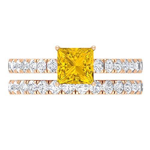 1.68 CT creado en laboratorio anillo de zafiro amarillo, D-VSSI Moissanite anillo de novia, anillo de compromiso de 5,5 mm corte princesa, banda de la mitad de la eternidad, 14K Oro rosa, Size:EU 52