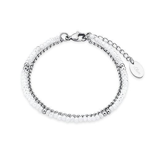 s.Oliver Damen-Armband mehrreihig Edelstahl Glassteine weiß