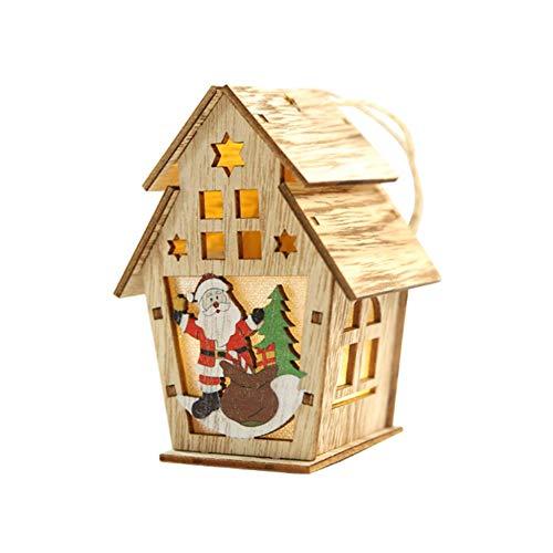 WSJKHY Houten huis leuke kerstboom hangende ornamenten vakantie kerstdecoratie voor thuis hangers ornament nieuw D