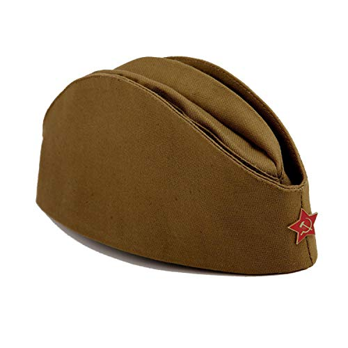 ReflectStore USSR Military WW2 Side Cap/Soviet Hat Pilotka Khaki Russian Army incl. Red Star, Medium