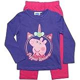 Peppa Wutz Schlafanzug Mädchen Pyjama Peppa Pig Lang (Fuchsia/Lila, 116/122)