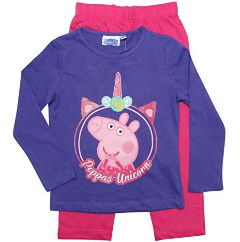 Peppa Wutz Schlafanzug Mädchen Pyjama Peppa Pig Lang Lila-Fuchsia (116)