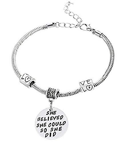 Armband - ze geloofde dat ze het kon dus ze deed - armband - hanger - geloofde het en maakte het - geloof ons - unisex - willen en macht - zilveren feest