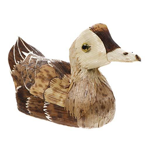 Garneck - Figura decorativa de pato con hojas de bambú, diseño de animales y pato