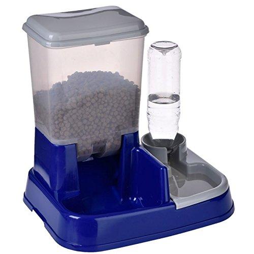 Distributeur automatique nourriture et eau 2 in1 combine l'octroi d'eau et nourriture en ajustant le juste dose des croquettes et la présence constante d'eau fraîche. Mesures : L 37 x P 32 x H 36