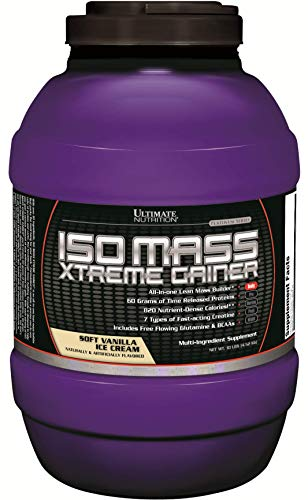 Ultimate Nutrition ISO Mass Xtreme Weight Gainer Protein Isolate Powder with Creatine - Gain Serious Lean Muscle Mass Fast with 60 Grams of Protein, Vanilla Ice Cream, 30 Servings