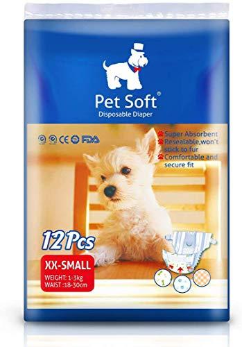 Pet Soft Einweg-Windeln für Hündinnen und Katzen, super saugfähig und weich, Heizung und Pee Doggy Windeln, 12 Stück XXS/XS/S/M