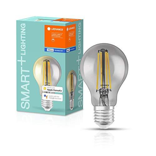 LEDVANCE Lampe LED Smart avec Bluetooth, E27, dimmable, blanc chaud (2700K), remplace les lampes à incandescence par 44W, contrôlable avec Alexa,Google et Apple,SMART+ Filament Classic Dimmable,1-pack