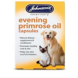 Johnsons Pet-Essentials Evening Primrose Oil Capsules for Dogs and Cats (Eco-Friendly Packaging)
