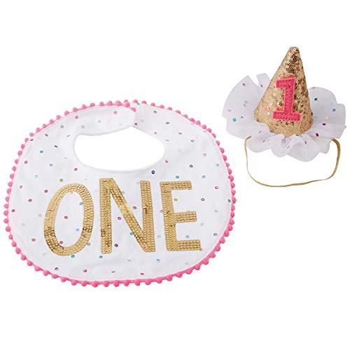 Mud Pie Baby Girls First Birthday Cake Smashing Set, White, One Size