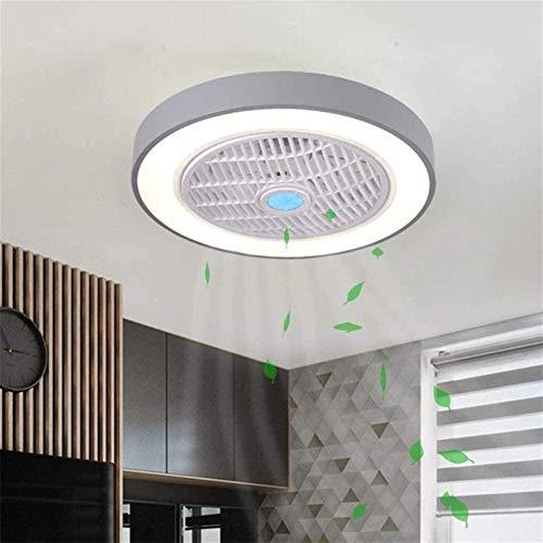 50 cm luces de techo modernas ventilador de techo con luces y control remoto, lámpara de sala de estar led dimmable 3 Tiempo 3 velocidades Ventilador de techo Luz colgante (Color : Gray)
