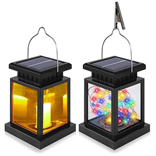 JJZXD Linterna Solar Impermeable Colgando luz Solar a la luz RGB/cálido Blanco LED de Seguridad Luces de Seguridad Cadena para jardín Decoración del Patio (Color : 6pcs, Size : 30led RGB Light)
