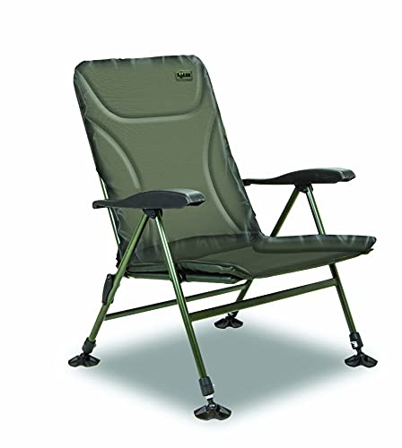 Solar Tackle UnderCover Green Recliner Chair, Easy Adjustable Seven-Point Arm Rest, Padded 600D Material, Adjustable Legs with Solar Mud Feet, Easy For Storage And Transport