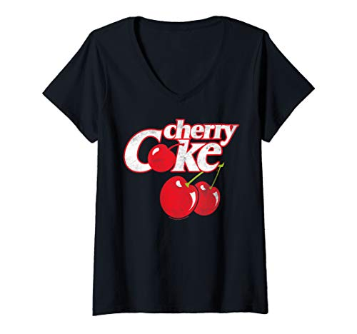 Womens Coca-Cola Cherry Coke Logo V-Neck T-Shirt