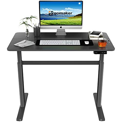 ERGOMAKER Escritorio eléctrico de pie de altura ajustable para oficina en casa (110 x 60 cm, marco negro + escritorio negro)