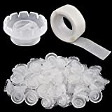 Lash Glue Ring Glue Cup [200PCS] with 2 Slots for Lash Extension Supplies, Lash Glue Holder, Blossom Ring Cup with 2 Rolls Glue Point, Volume Fan Eyelash Extensions Supplies, Lashing Supplies Kit