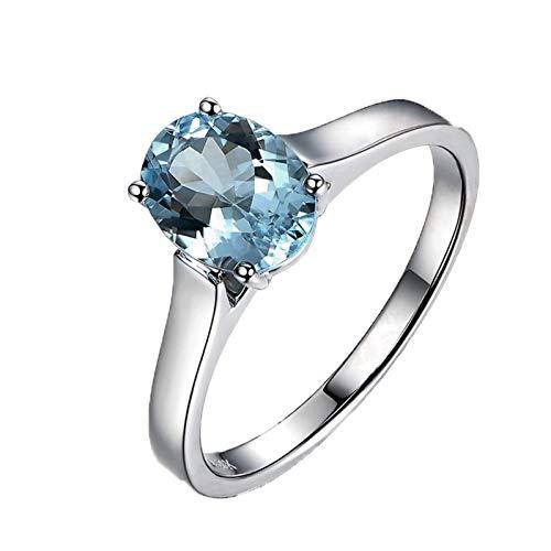 Ubestlove Bague Solitaire Diamant Or Blanc 750 Idee Cadeau Femme 80 Ans Aigue-Marine Ovale 1,20Ct Bague Femme 51.5