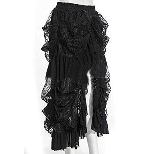 COSWE Women's Black Lace Punk Irregular Dress Steampunk Skirt Cosplay Costume (3XL) steampunk buy now online