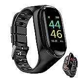 Techno Store Pulsera Inteligente + Auriculares Bluetooth 2 en 1- Mensajes, Llamadas, Monitor de Ritmo Cardíaco Presión Arterial -Impermeable IP67 | Compatible con iOS y Android