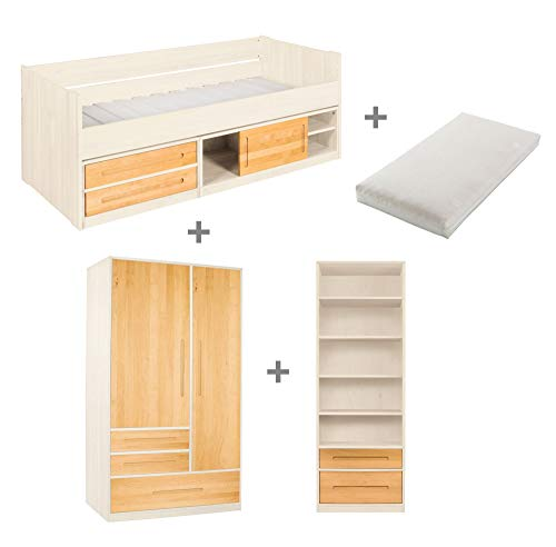 BioKinder Kinderzimmer complete set Lina met bed, garderobe en legbord inclusief oprolbare lattenbodem en matras van massief elzenhout en grenenhout in wit, voor elzenhout