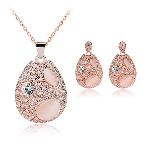 ZOMEBER BFF Collier 3 en 1 Femmes Mode Belle sertis de Diamants Forme Droplet Type de Boucles d'oreilles Collier Bijoux (Couleur : Rose Gold)