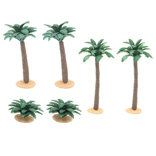 Doitool Mini Palm Tree Plastic Model Coconut Palm Tree Miniature Landscape Scenery Artificial Plants Greenery for DIY Microlandscape Doll Houses 6pcs
