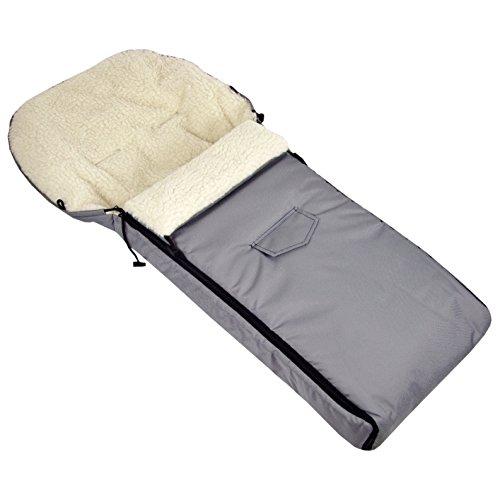 BAMBINIWELT wintervoetenzak voor kinderwagen, joggers, buggy en slee, voetenzak zitkussen, lamswol, lichtgrijs 108 cm