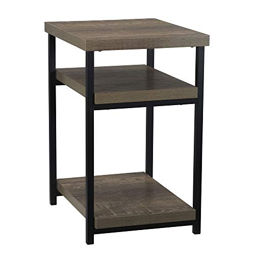 Household Essentials Low Square Side End Table with Shelf for Storage | Ashwood, Distressed Brown