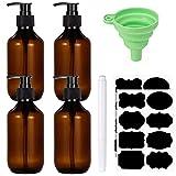 SOSPIRO 4 Stück Nachfüllbare Leere Shampooflaschen, 300 ml Seifenspender Flaschen für...