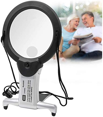 Rumfo Reading Magnifier with LED Light Hands Free Chest Rest Double Lighted Knitting Embroidery Benchtop Multifunction for Sewing Cross Stitch Inspection Repair