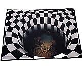 DF - Felpudo de Halloween (80 x 160 cm), diseño abstracto moderno geométrico, alfombra de ilusión 3D, alfombra de ilusión visual 3D, alfombra de área redonda para dormitorio