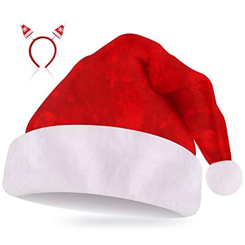 Camelize Weihnachtsmütze Plüsch Rand Nikolausmütze Erwachsene - Rot Santa Mütze und Haarreifen Weihnachten Weihnachtsfeier für Party Neujahr Weihnachtstag