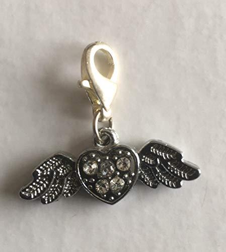 Charm hanger hart engel strass karabijnhaak verzilverd 30 x 10 mm modesieraad kwaliteit