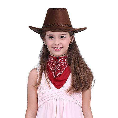 TiaoBug Unisexo Niños Sombrero de Vaqueros con Pañuelo Disfraz Cowbo