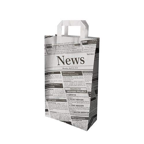PAPSTAR Tragetasche ´Newsprint´, 220 x 100 x 360 mm, Sie erhalten 1 Packung, Packungsinhalt: 50 Stück