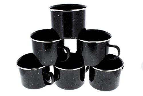 Direct 2 Boater 16 oz Durable Metal Camping Mug with Black Speckled Enamel Finish