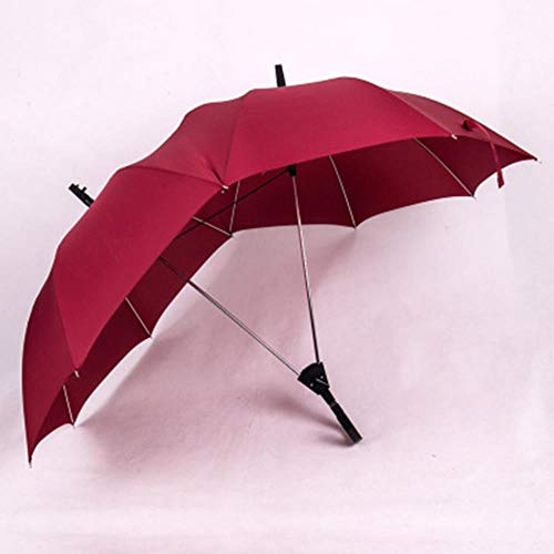 1 stücke Langen Griff Zwei Pole Paar Regenschirm Männer Regen Frau Halbautomatische Werbegeschenk Regenschirm Winddicht Sonnenschirme, Rot