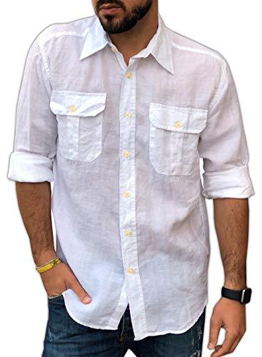 CAMICIE & dintorni Chemise à double poche pour homme - Blanc - XL