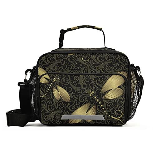 Naanle Bolsa de almuerzo de libélula con correa ajustable para el hombro aislada a prueba de fugas, caja de picnic con doble cremallera, bolsa de almuerzo abierta amplia para oficina, trabajo, escuela