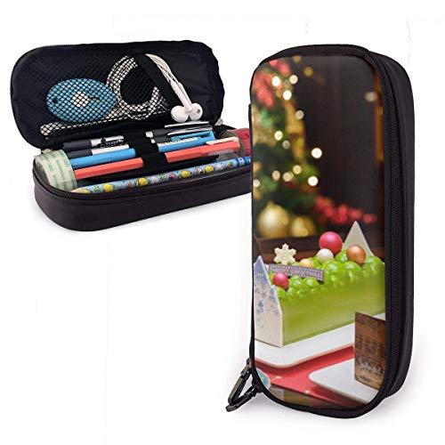 Bleistiftbeutel,Weihnachtskuchen Leder Stift Fall Stilvolle Schreibtisch Organizer Tasche Make-Up Tasche Stifthalter Für Kinder,20X9X4Cm